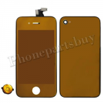 LCD with Touch Screen Digitizer, Home Button, Back Cover & Frame for iPhone 4 (GSM)  -  Electroplated Orange mirror effect (no logo) PH-LCD-IP-3223OR