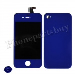 LCD with Touch Screen Digitizer, Home Button & Back Cover for iPhone 4(GSM) -Deep Blue (no logo) PH-LCD-IP-3224DB