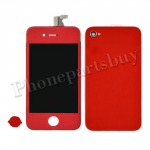LCD with Touch Screen Digitizer, Home Button & Back Cover for iPhone 4(GSM)-Red (no logo) PH-LCD-IP-3224RD