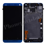 LCD with Touch Screen Digitizer and Bezel Frame and Sim Card Holder For HTC One 801e M7(for HTC)-Blue PH-LCD-HT-00055BU