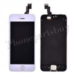 Electroplated LCD, Touch Screen Digitizer & LCD Frame with Home Button for iPhone 5C-Silver PH-LCD-IP-00047SLF