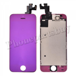Complete LCD with Touch Screen Digitizer, Frame ,and Front Camera for iPhone 5S-Electroplated Purple Mirror Effect PH-LCD-IP-00053PL
