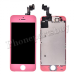 Complete LCD with Touch Screen Digitizer, Frame and Front Camera For iPhone 5S-Pink PH-LCD-IP-00049PK