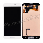 LCD with Touch Screen Digitizer and Home Button ,Home Button Flex Cable for SAMSUNG Galaxy S5 i9600/ G900F/ G900H/ G900M/ G9001/ G9008V/ G900A/ G900T/ G900V/ G900R4/ G900P(OEM)-White PH-LCD-SS-00092WH