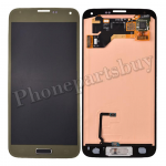 LCD with Touch Screen Digitizer and Home Button ,Home Button Flex Cable for SAMSUNG Galaxy S5 i9600/ G900F/ G900H/ G900M/ G9001/ G9008V/ G900A/ G900T/ G900V/ G900R4/ G900P(for Samsung)-Gold PH-LCD-SS-00092GD