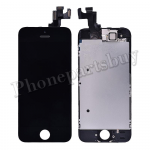 Complete LCD with Touch Screen Digitizer, Frame and Front Camera For iPhone 5S-Black PH-LCD-IP-00049BK