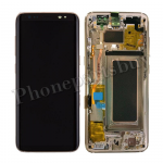 LCD Screen Display with Digitizer Touch Panel and Bezel Frame and Earpiece Speaker for Samsung Galaxy S8 G950F(Gold Frame)(OEM) - Black PH-LCD-SS-00212BKGD