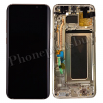 LCD Screen Display with Digitizer Touch Panel and Bezel Frame and Earpiece Speaker and Earphone Jack for Samsung Galaxy S8 Plus G955F(Gold Frame)(OEM) - Black PH-LCD-SS-00213BKGD