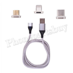 3in1 Micro USB/ Type C/ IOS Magnetic Adapter Fast Charging Cable for Mobile Phone - Silver MT-EI-UN-00327SL