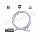 3in1 Micro USB/ Type C/ IOS Magnetic Adapter Flowing LED Light up Fast Charging Cable for Mobile Phone - Silver MT-EI-UN-00332SL