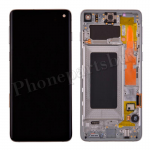LCD Screen Display with Digitizer Touch Panel and Bezel Frame for Samsung Galaxy S10 G973(Silver Frame) - Black PH-LCD-SS-00252BKSL