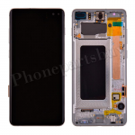 LCD Screen Display with Digitizer Touch Panel and Bezel Frame for Samsung Galaxy S10 Plus G975(Silver Frame) - Black PH-LCD-SS-00253BKSL