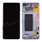 LCD Screen Display with Digitizer Touch Panel and Bezel Frame for Samsung Galaxy S10 Plus G975(Blue Frame) - Black PH-LCD-SS-00253BKBU
