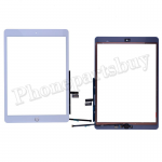 Touch Screen Digitizer With Home Button and Home Button Flex Cable for iPad 7 2019 (10.2 inches)(High Quality) - White PH-TOU-IP-000890WHA